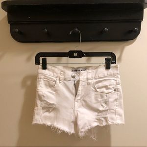 Express White Denim Mid-Rise Jean Shorts